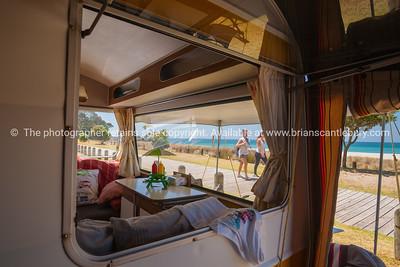Retro styled holiday caravan at Mount Maunganui Beach