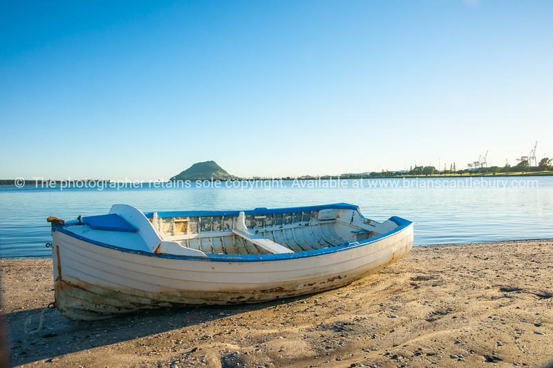 Classic clinker dinghy on Otumoetai foreshore