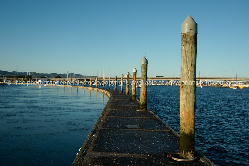 """Tauranga's Bridge marina floating pier curves to left with bridge in background. Tauranga is New Zealands 5th largest city and offers a wonderfull variety of scenic and cultural experiences. Tauranga stock images Tauranga scenics. See;  <a href=""""http://www.blurb.com/b/3811392-tauranga"""">http://www.blurb.com/b/3811392-tauranga</a> mount maunganui landscape photography, Tauranga Photos; Tauranga photos, Photos of Tauranga Also see; <a href=""""http://www.brianscantlebury.com/Events"""">http://www.brianscantlebury.com/Events</a>"""