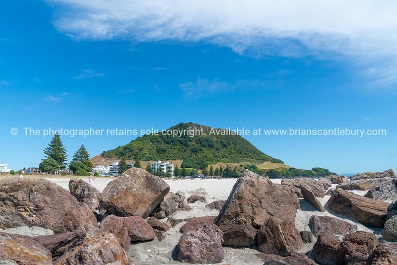 Landmark Mount Maunganui at end of main beach.