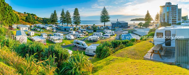 View across Mount Maunganui Beachside Holiday Park to Main Beach