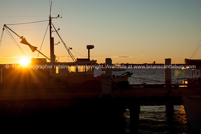 Fishermans Wharf at sunrise, Tauranga waterfront.