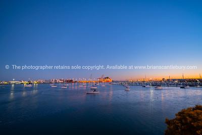 Lights of Port of Tauranga and harbor at dawn