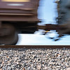 Passing railway freight carriages close-up