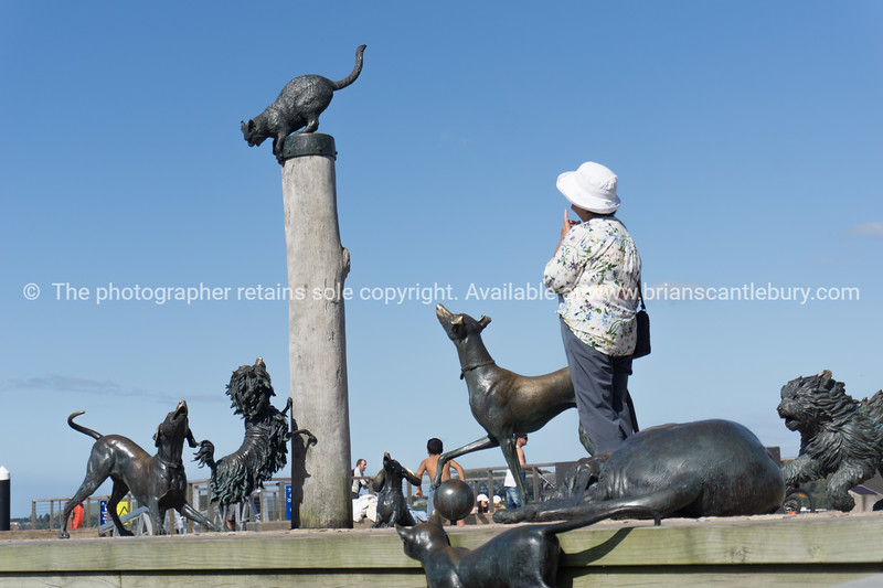 Hairy McLairy animal statues from Dame Lynley Dodd's childrens book on Taurang Waterfront