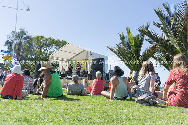 Tauranga  The Strand people sitting watching band in Jazz Festival.
