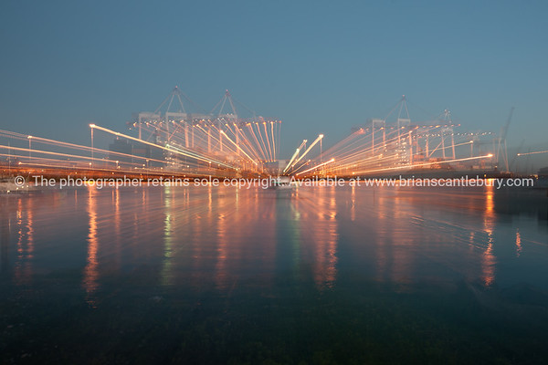Port of Tauranga, lightstreams across the harbour..