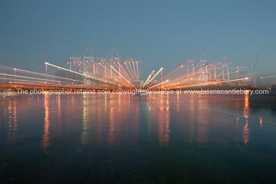 Port of Tauranga, lightstreams across the harbour..