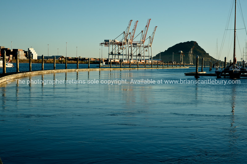 Port of Tauranga container cranes beyond floating pier of Bridge Marina.