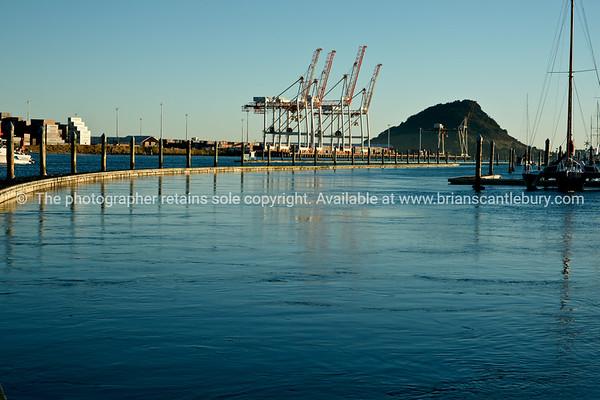 Port of Tauranga container cranes beyond floating pier of Bridge Marina.