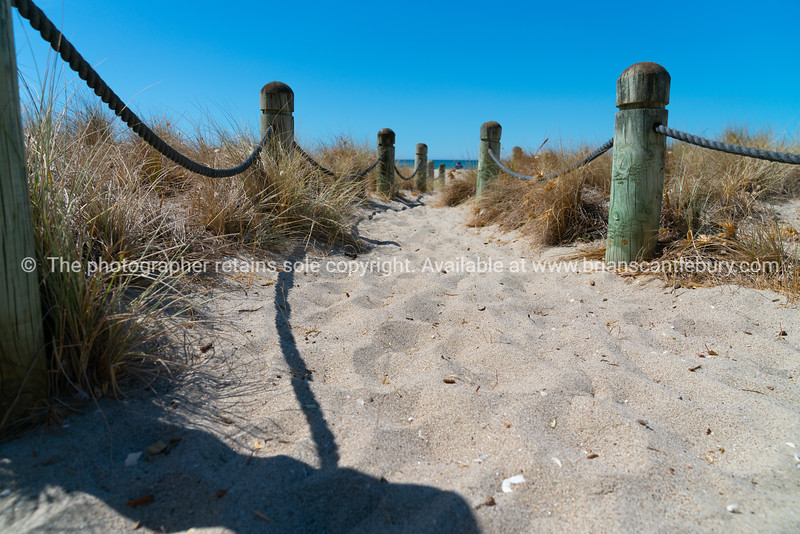 Beach access between rope and bollards across sand path.