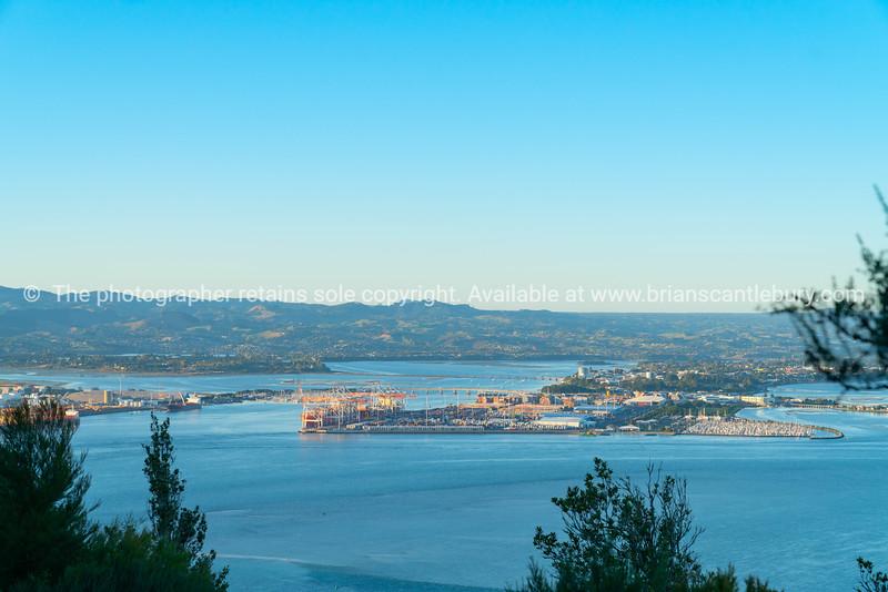 Tauranga Harbour and port from Mount Maunganui