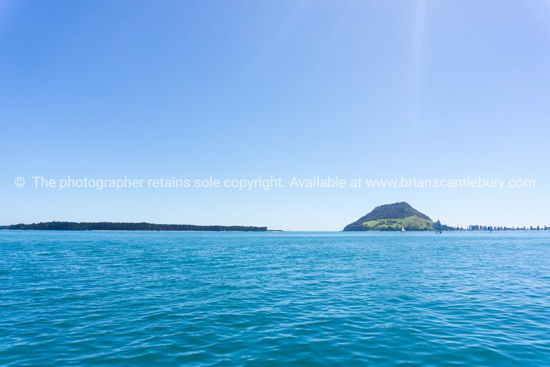 Iconic Mount Maunganui across Tauranga Harbour.