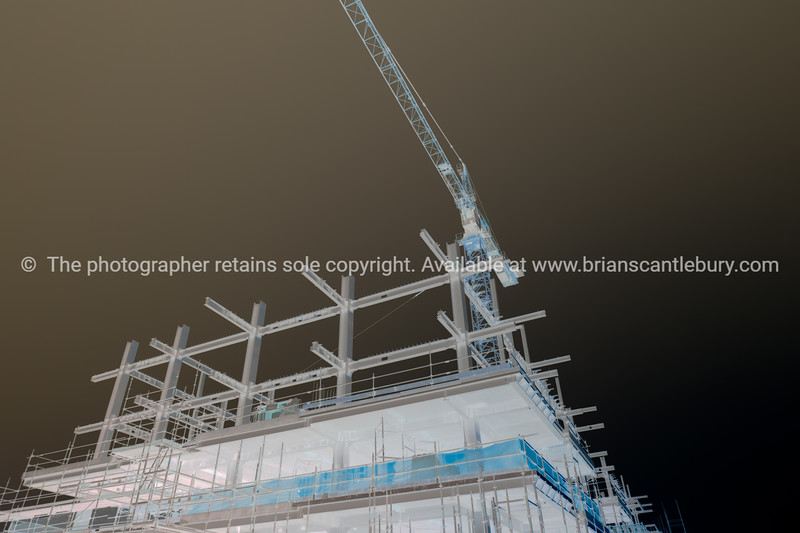 Illustrative style  building consctruction site in city