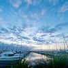 Tauranga Marina as sun sets.