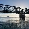 Railway bridge crossing from downtown Tauranga to Matapihi across Tauranga harbour
