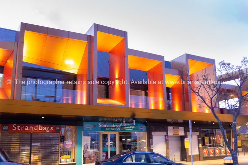 Modern new building facade above retail in downtown Tauranga