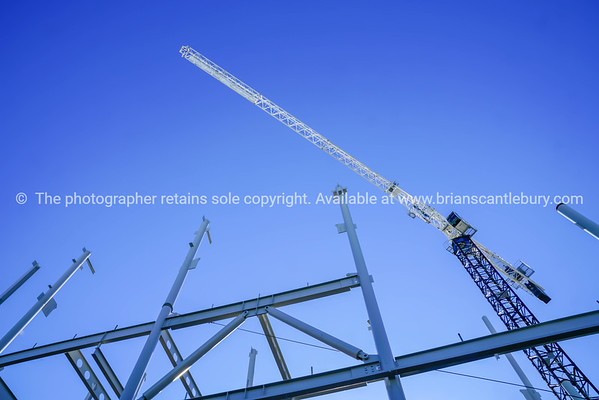 Structural steel framework for new building.