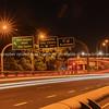 Urban transport route night scene