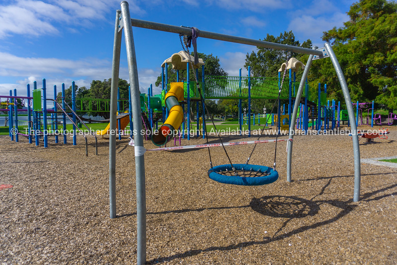 Tauranga Memorial Park Children's Playground deserted as people are ordered to stay home during covid-19 lockdown