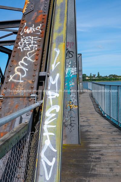 Walkway and structure Tauranga Railway Bridge with graffiti