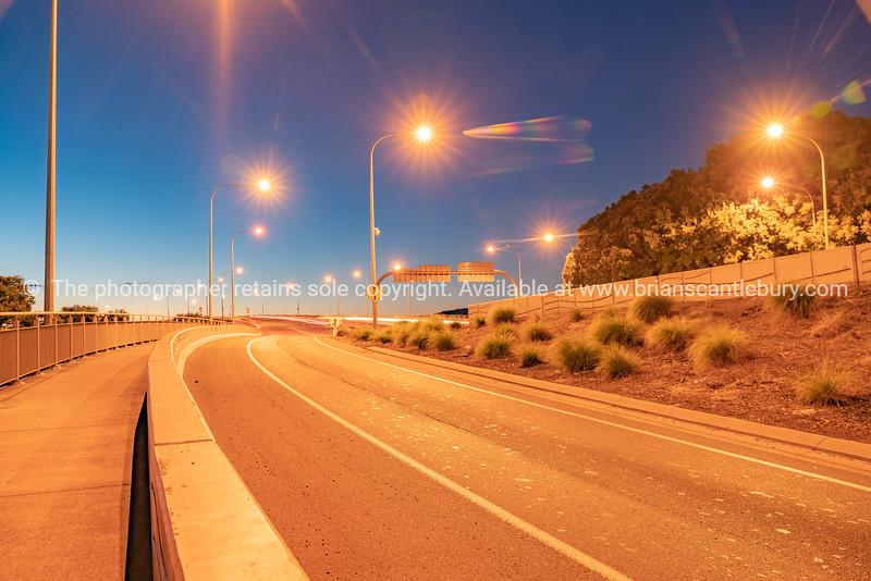 Tauranga Harbour Bridge on ramp at dawn