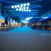 City's Wharf Street dining precinct on quiet Sunday night in winter, showing effects of Covid lockdown.