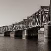 Steel truss railway bridge across Tauranga harbour.