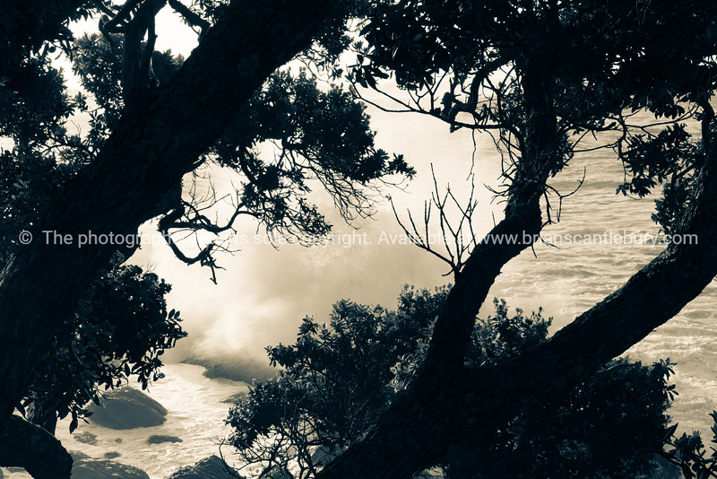 Storm waves crashing into rocky foreshore at base of Mount Maunganui.