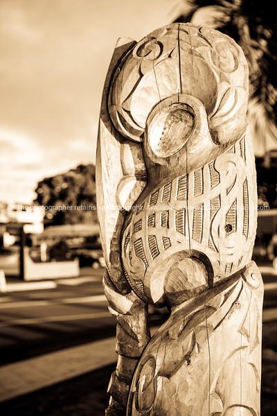 Maori installation on Tauranga Strand NZ