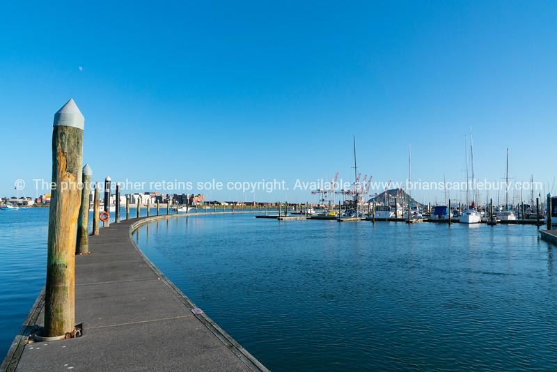 Port of Tauranga from Bridge Marina floating pier