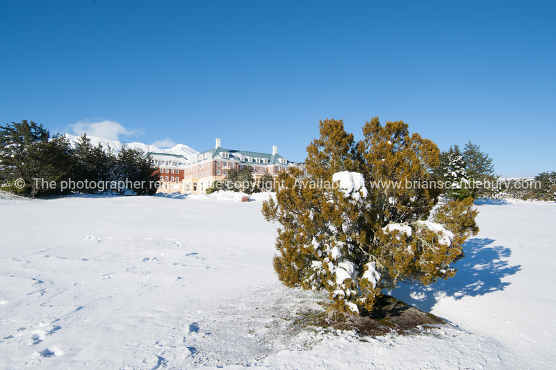 Chateau Tongariro surrounded with snow