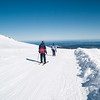 Skiers with magnificent North Island view ahead,