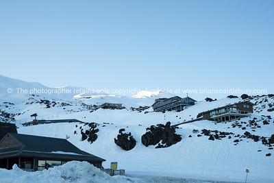 Skifield as sun rises. Whakapapa Village on Mount Ruapehu.
