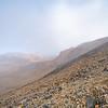 Slopes, light and shade on hillsides of mountains along Tongariro Alpine Walk