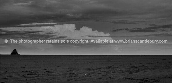 Karekare beach in black and white. New Zealand image.