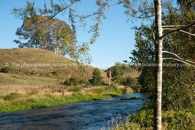 Te Waihou River flowing through rural countryside, Waikato.