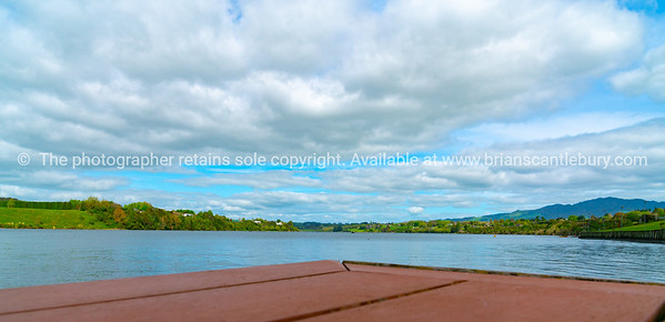 View across Lake Karapiro from viewing deck near rowing facility