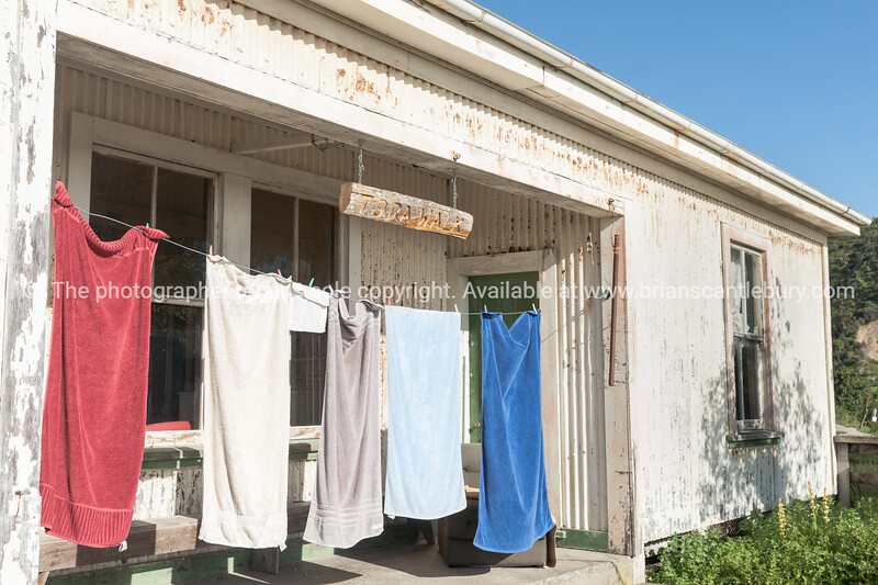 Towels drying on line outside shearers shed