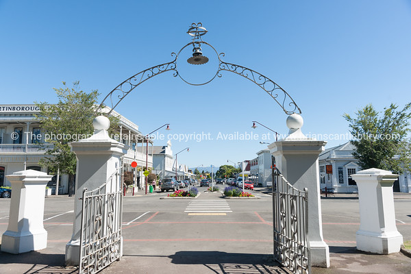 From gates to Martinborough square looking along street.