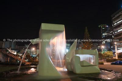 Albatross sculpture under city lights and scenes Wellington New Zealand