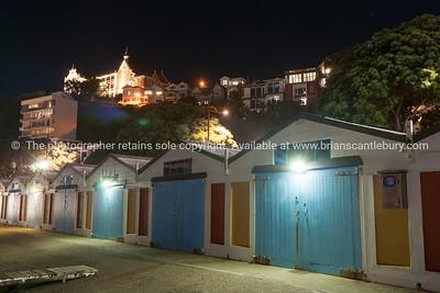 Oriental boat sheds night scene
