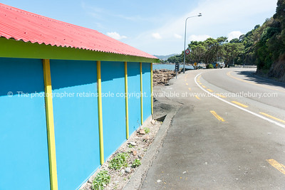 Coastal road past colourful blue and yellow boatshed with red roof.