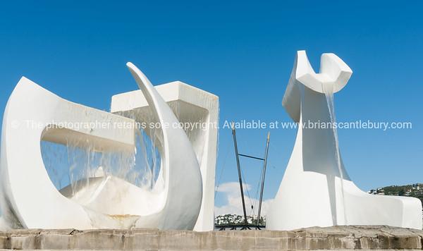 Wellington's Waterfront Sculpture Trail white sculpture Albatross on city waterfront