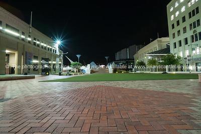 Night scene Civic Square in central Wellington, New Zealand