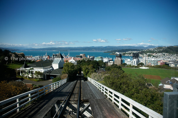 Wellington Cable car track in view of Wellington city