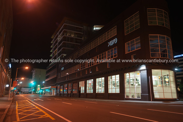 Xero dark building exterior office lights in widows on Wakefield Street  Wellington New Zealand