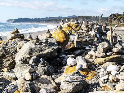 Stone stacks of Bruce Bay on State Highway 6, West Coast district of New Zealand. South Island