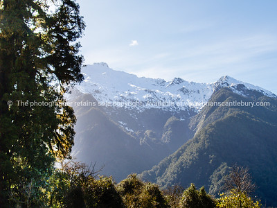 Scenic west Coast of New Zealand. Rugged hills, mountains, lakes and bush. South Island