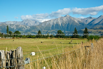 Canterbury Plains view from Springfield to Southern Alps. New Zealand. New Zealand photographic stock images. South Island